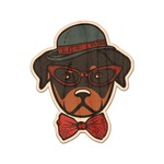 Hipster Dogs Genuine Maple or Cherry Wood Sticker (Personalized)