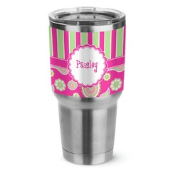 Pink & Green Paisley and Stripes Stainless Steel Tumbler - 30 oz (Personalized)