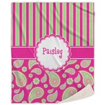 Pink & Green Paisley and Stripes Sherpa Throw Blanket (Personalized)