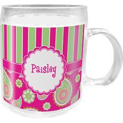 Pink & Green Paisley and Stripes Acrylic Kids Mug (Personalized)