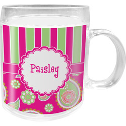 Pink & Green Paisley and Stripes Acrylic Kids Mug (Personalized)