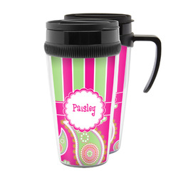 Pink & Green Paisley and Stripes Acrylic Travel Mugs (Personalized)