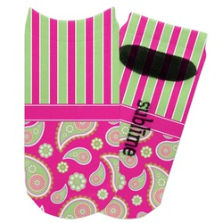 Pink & Green Paisley and Stripes Adult Ankle Socks (Personalized)
