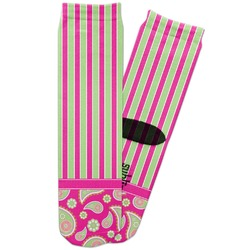 Pink & Green Paisley and Stripes Adult Crew Socks (Personalized)