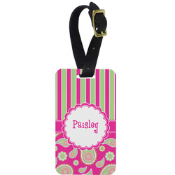 Pink & Green Paisley and Stripes Aluminum Luggage Tag (Personalized)