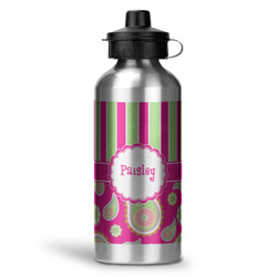 Pink & Green Paisley and Stripes Water Bottle - Aluminum - 20 oz (Personalized)