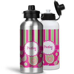 Pink & Green Paisley and Stripes Water Bottles- Aluminum (Personalized)
