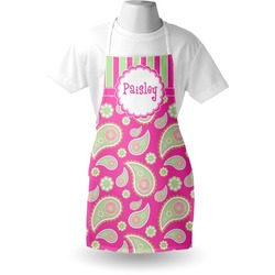 Pink & Green Paisley and Stripes Apron (Personalized)