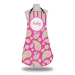 Pink & Green Paisley and Stripes Apron w/ Name or Text