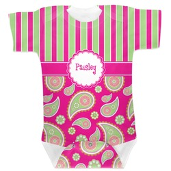 Pink & Green Paisley and Stripes Baby Bodysuit (Personalized)
