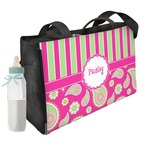 Pink & Green Paisley and Stripes Diaper Bag (Personalized)