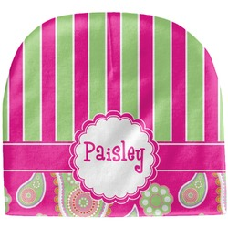 Pink & Green Paisley and Stripes Baby Hat (Beanie) (Personalized)