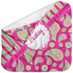 Pink & Green Paisley and Stripes Baby Hooded Towel (Personalized)