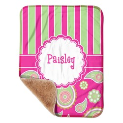 "Pink & Green Paisley and Stripes Sherpa Baby Blanket 30"" x 40"" (Personalized)"