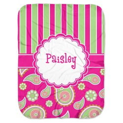 Pink & Green Paisley and Stripes Baby Swaddling Blanket (Personalized)