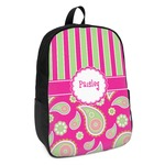 Pink & Green Paisley and Stripes Kids Backpack (Personalized)