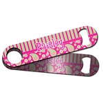 Pink & Green Paisley and Stripes Bar Bottle Opener w/ Name or Text
