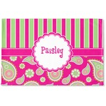 Pink & Green Paisley and Stripes Woven Mat (Personalized)