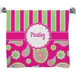 Pink & Green Paisley and Stripes Full Print Bath Towel (Personalized)