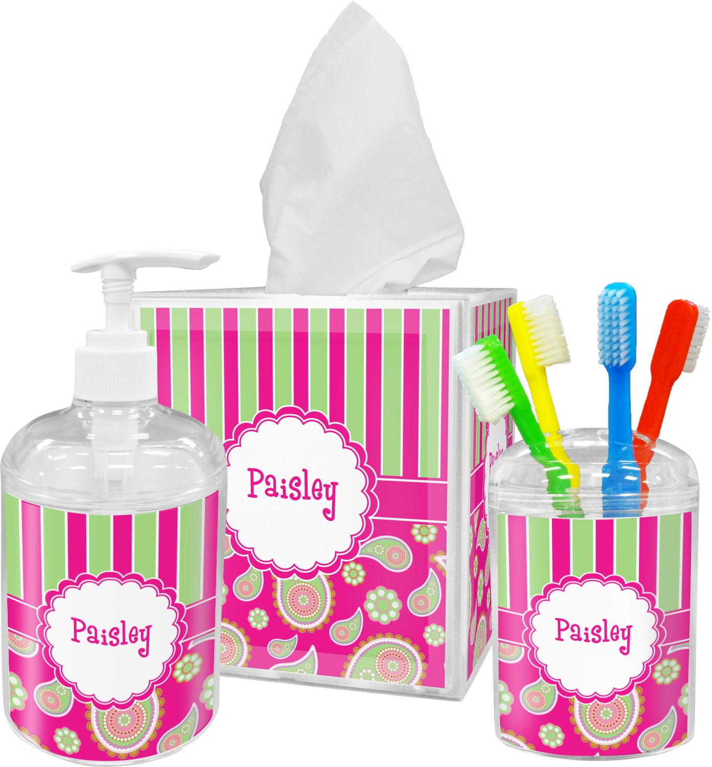 Pink green paisley and stripes bathroom accessories set for Striped bathroom accessories sets