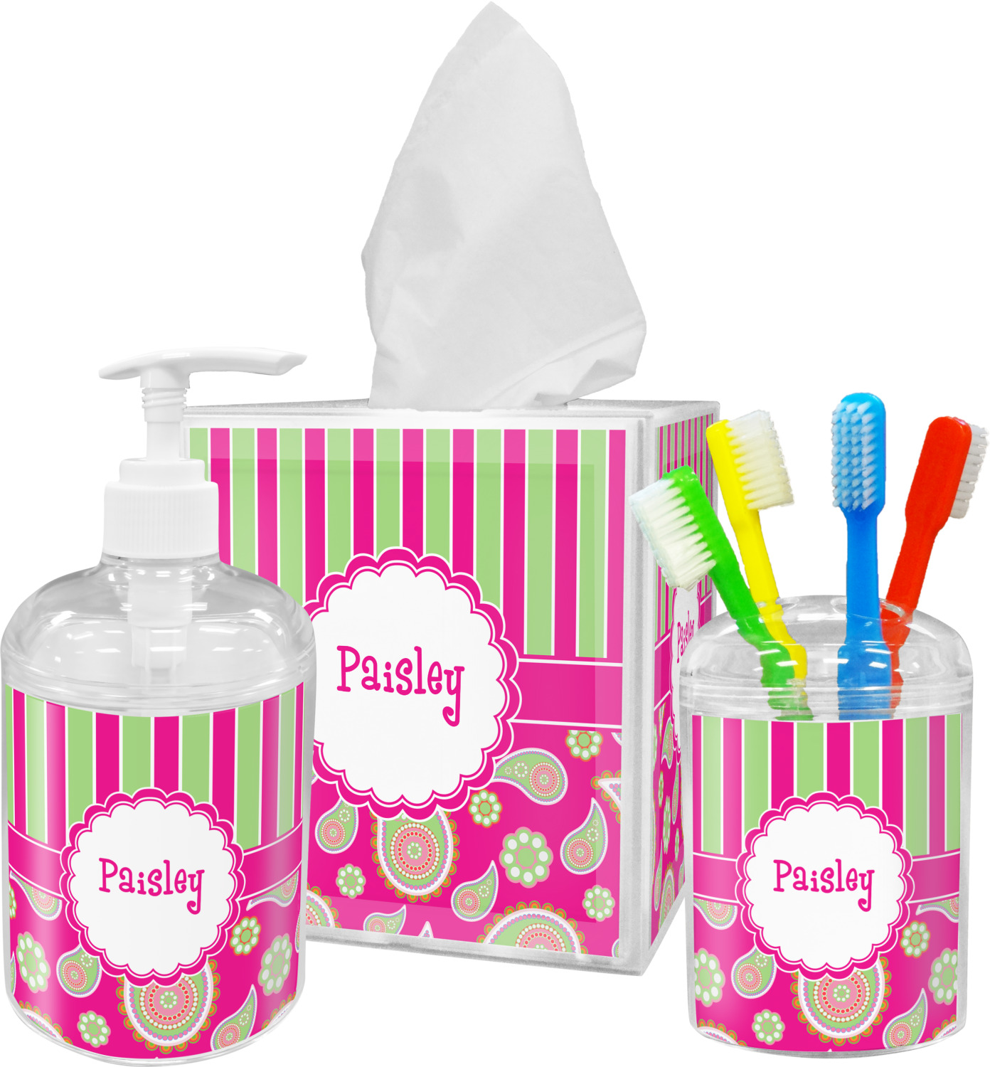 Pink green paisley and stripes bathroom accessories set for Pink bathroom accessories sets