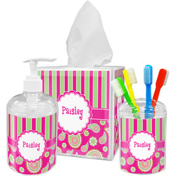 Pink & Green Paisley and Stripes Bathroom Accessories Set (Personalized)
