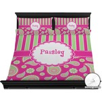 Pink & Green Paisley and Stripes Duvet Cover Set - King (Personalized)