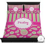 Pink & Green Paisley and Stripes Duvet Covers (Personalized)