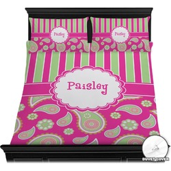 Pink & Green Paisley and Stripes Duvet Cover Set (Personalized)