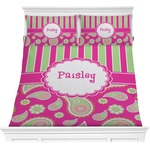 Pink & Green Paisley and Stripes Comforters (Personalized)