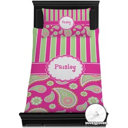 Pink & Green Paisley and Stripes Duvet Cover Set - Toddler (Personalized)