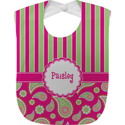 Pink & Green Paisley and Stripes Baby Bib (Personalized)
