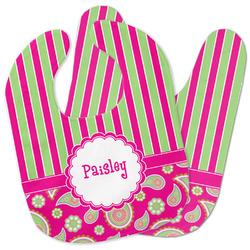 Pink & Green Paisley and Stripes Baby Bib w/ Name or Text