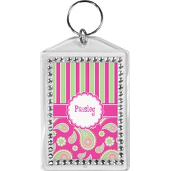 Pink & Green Paisley and Stripes Bling Keychain (Personalized)
