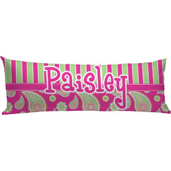 Pink & Green Paisley and Stripes Body Pillow Case (Personalized)
