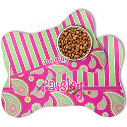 Pink & Green Paisley and Stripes Bone Shaped Dog Food Mat (Personalized)