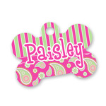 Pink & Green Paisley and Stripes Bone Shaped Dog Tag (Personalized)