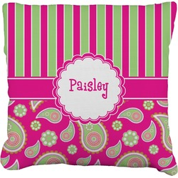 """Pink & Green Paisley and Stripes Faux-Linen Throw Pillow 16"""" (Personalized)"""