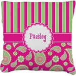 Pink & Green Paisley and Stripes Faux-Linen Throw Pillow (Personalized)