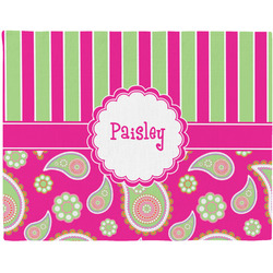 Pink & Green Paisley and Stripes Placemat (Fabric) (Personalized)