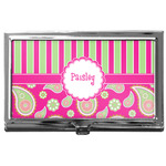 Pink & Green Paisley and Stripes Business Card Case