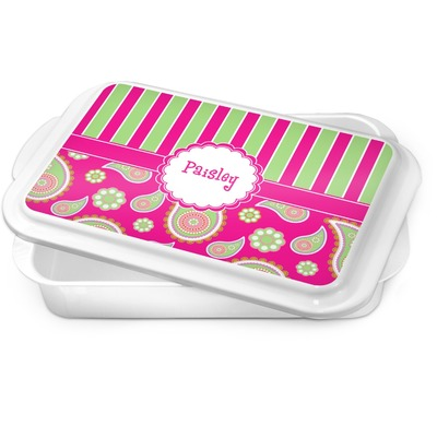 Pink & Green Paisley and Stripes Cake Pan (Personalized)