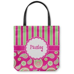 Pink & Green Paisley and Stripes Canvas Tote Bag (Personalized)