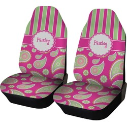 Pink & Green Paisley and Stripes Car Seat Covers (Set of Two) (Personalized)