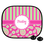 Pink & Green Paisley and Stripes Car Side Window Sun Shade (Personalized)