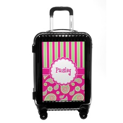 Pink & Green Paisley and Stripes Carry On Hard Shell Suitcase (Personalized)