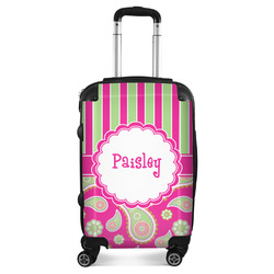 Pink & Green Paisley and Stripes Suitcase (Personalized)