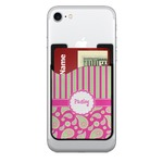 Pink & Green Paisley and Stripes 2-in-1 Cell Phone Credit Card Holder & Screen Cleaner (Personalized)