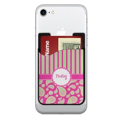 Pink & Green Paisley and Stripes Cell Phone Credit Card Holder (Personalized)