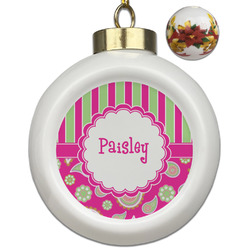 Pink & Green Paisley and Stripes Ceramic Ball Ornament (Personalized)